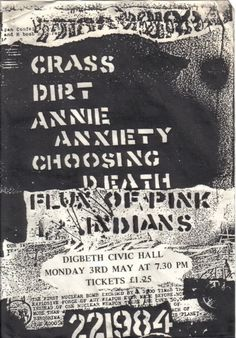 Crass, Dirt, Annie Anxiety, Choosing Death, Flux of Pink Indians @ Digbeth. 1982