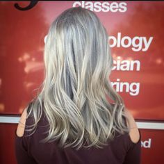 Love this cool toned hair using Redken Shades- Student work, had to snap the pic before this customer left!
