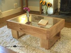 Durdle Solid Oak Coffee Table with Glass Top, Chunky Rustic and Unique