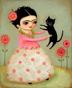 LARGE original acrylic painting FRIDA kahlo black cat and poppies by tascha Frida E Diego, Frida Art, Arte Popular, Mexican Folk Art, Cat Drawing, Whimsical Art, Caricatures, Cat Art, Kitsch
