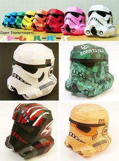Paper Stormtrooper helmets