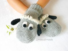 Chunky Crochet Gloves Mittens Animal Puppet Lamb by 2HandMade, $24.90