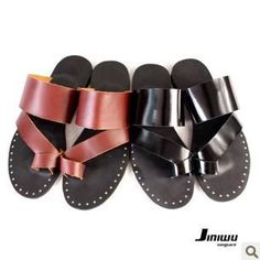 size38-45 2014  fashion men's black brown cool rivets summer gladiator style genuine leahter flip-flop male sandals b387 sale