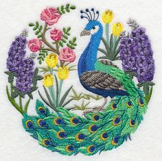 Peacock Scene. This machine embroidery design features a graceful peacock, surrounded by lush greenery. Beautiful on totes, pillows, and jacket backs.