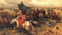 """Battle over the Turkish banner, Sipahis of the Ottoman Empire in Vienna, Austria. Ottoman Sipahis in battle holding the Crescent Banner against the Polish-Lithuanian Commonwealth forces"", 1905 by Józef Brandt Battle Of Vienna, Turkish Soldiers, Ottoman Turks, Empire Romain, By Any Means Necessary, Sombre, Historical Art, Historical Pictures, Ottoman Empire"