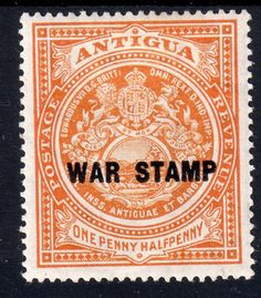 ANTIGUA 1916 Sg54 1½d ORANGE (BLACK OVPT WAR STAMP) LIGHTLY M/MINT (G8) Listing in the Antigua & Barbuda (up to 1981),Commonwealth & British Colonial,Stamps Category on #eBid United Kingdom