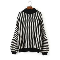 Yoins Yoins Monochrome Chevron Pattern Sweater ($29) ❤ liked on Polyvore featuring tops, sweaters, black, sweaters & cardigans, striped crew neck sweater, striped top, black top, black striped top and chevron print tops