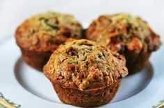 Zucchini bread muffins with shredded zucchini, walnuts, dried cranberries, spiced with vanilla, cinnamon and nutmeg. Banana Zucchini Muffins, Zucchini Muffin Recipes, Protein Muffins, Banana Nut, Carrot Muffins, Cranberry Muffins, Banana Zucchini Bread Healthy, Turkey Muffins, Zucchini