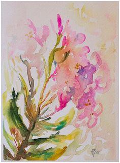 Pink Oleander original watercolor painting 5x7 by by angelafehr