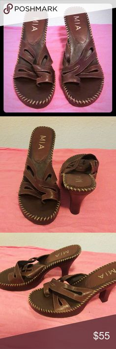 """MIA Brown Leather High-heeled Sandals - Size 8.5 MIA brand Dark Brown Genuine Leather Wing Strap High-heeled Sandals. These shoes feature toe straps, stitching detail around the edges, and cushioning for extra comfort. The heels are 2"""" high. In great condition, only worn twice. Woman's Size: 8.5  ?Bundle 2 or more listings and save 15%? MIA Shoes Heels"""