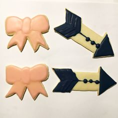 Bows and Arrows gender reveal cookies. Baby girl bow cookies. Navy arrow cookies. Gender reveal cookies. Bows or arrows
