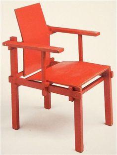 """Gerrit Rietveld 1880-1964 (Utrecht), aangesloten bij """"De Stijl"""" (strakke vormen in de primaire kleuren)"""