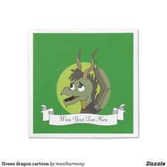 Green dragon cartoon standard cocktail napkin