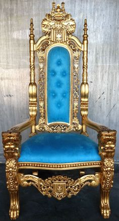GOLD LEAF TIFANNY BLUE HOLLYWOOD REGENCY LION KING CHAIR GOTHIC SOFA THRONE