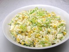 Fine and slightly creamy salad full of delicious vegetables, corn and pineapple, . - Home Office - Salade Recept - Fitness Dutch Recipes, Russian Recipes, Raw Food Recipes, Salad Recipes, Cooking Recipes, Healthy Recipes, Borscht Soup, Cabbage Salad, Recipes