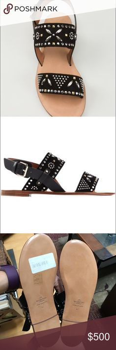 Valentino Garavani micro stud flat sandals Black calf leather 'Microstuds' flat sandals from Valentino Garavani featuring an open toe, gold-tone Rockstud embellishments, an ankle strap with a side buckle fastening, a brand embossed insole and a flat heel. Never worn.  valentino Shoes Sandals