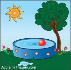 kids in the pool clipart | Clip Art of a Kids Pool in a Summer Yard