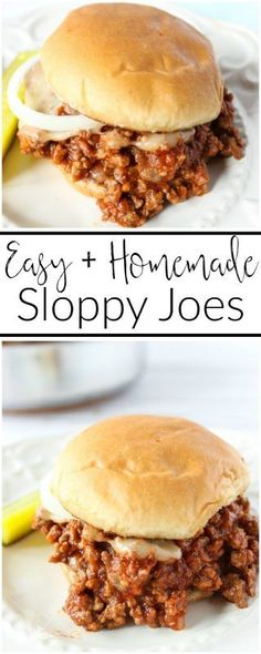 Homemade, delicious and easy to make, these sloppy joes are perfect for busy weeknights or for when you need to get dinner on the table fast. An easy homemade sloppy joe recipe that requires little prep and cook time. Perfect for busy weeknights! Easy Homemade Sloppy Joe Recipe, Homemade Sloppy Joes, Meat Recipes, Cooking Recipes, Healthy Recipes, Hamburger Recipes, Recipies, Lunch Recipes, Recipes