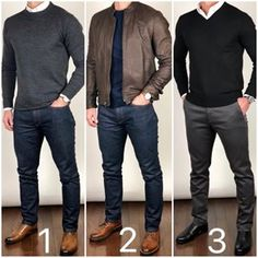 Casual fashion - Which outfit best describes YOUR personal or Or, let me know what kind of style you prefer Boots and shoes Sweater 1 and 2 Pants, jeans, and sweate Mode Swag, Mode Cool, Formal Men Outfit, Mens Semi Formal Wear, Work Outfit Men, Semi Formal Outfits, Herren Style, Stylish Mens Outfits, Simple Outfits