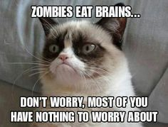 zombie eat brains... dont worry most of you have nothing to worry about