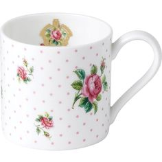 ROYAL ALBERT Cheeky Pink Roses mug ($12) ❤ liked on Polyvore featuring home, kitchen & dining, drinkware, rose mug, rose bone china, bone china, pink mug and polka dot mugs