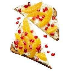 Orange-Pomegranate Ricotta Toast 1/4 cup low-fat ricotta cheese 2 tsp honey 1 slice whole-wheat toast 1 navel orange 1 Tbsp pomegranate seeds 3/4 tsp nutmeg Mix low-fat ricotta with honey, and spread on whole-wheat toast. Top with remaining ingredients. 291 calories