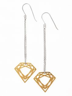 "Myia Bonner Long Classic Diamond Earrings. These long diamond shaped earrings are part of Myia Bonner's Classic collection. Feauture silver folded chain 2"" (5cm) long and gold plated with 18ct gold vermeil silver diamond shaped pendants."