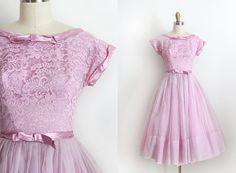 vintage 1950s dress // 50s purple lace prom by TrunkofDresses