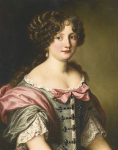 FERDINAND VOET ANTWERP 1639 - 1689 PARIS PORTRAIT OF ANNA MARIA CARPEGNA NARO (1651-1731), HALF LENGTH, WEARING A DRESS WITH FINE LACE
