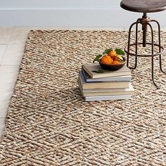Adamas Jute Rug #westelm - Love this idea for your dining room rug too! - 8'x 10' on sale for $350