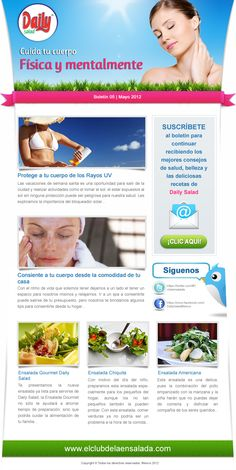 Diseño boletín - Daily Salad  Si te registras en el sitio lo puedes recibir  http://www.dailysalad.com.mx/