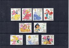 9 Japanese small used postage stamps, Disney characters, princesses. Scan enlarged to show detail. For crafts or collecting. Would make lovely party invites, framing, gift tags, art projects and more. Let stamps add another layer of story to your crafts.  Stamps will be sent securely packaged in a small envelope to fit through your letterbox. Pay only one P&P charge no matter how many items you purchase in one order. Display card not included.