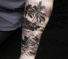 Tattoo photo - Beach and Boat tattoo by Alex Legaza Ship Tattoo Sleeves, Tree Sleeve Tattoo, Nature Tattoo Sleeve, Best Sleeve Tattoos, Tattoo Sleeve Designs, Tropisches Tattoo, Surf Tattoo, Forarm Tattoos, Forearm Tattoo Men