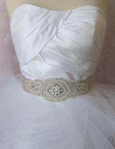 Rhinestone and Pearl Sash Platinum Grey or Taupe by TheRedMagnolia Platinum Grey, Cream Wedding, Sash, Taupe, Pearls, Accessories, Fashion, Beige, Moda
