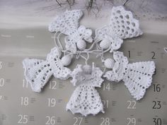 Crochet angels Set of Five Christmas ornament Home by InKasTrifles Crochet Snowflake Pattern, Crochet Snowflakes, Crochet Patterns Amigurumi, Doily Patterns, Crochet Angels, Crochet Cross, Thread Crochet, Hand Crochet, Quilted Christmas Ornaments