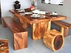 Rustic wood table and benches Cedar Furniture, Cabin Furniture, Rustic Furniture, Wood Table Design, Rustic Design, Handmade Furniture, Wooden Tables, Home Crafts, Home Decor