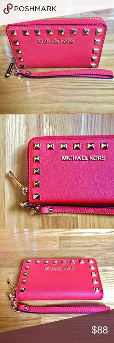 """MICHAEL Michael Kors Wristlet/Wallet/Clutch Never used. Was a gift. OPEN TO OFFERS.  MICHAEL Michael Kors -Glamorous on the go with thisbeautiful Saffiano Leather Studded Zip Clutch/Wristlet/Wallet. ️️  Size: Small Wristlet Color: Cherry MSRP: $ 118.00  Product Features: * Made of beautiful red Saffiano Leather * Zip closure * Gold tone pyramid studs and hardware * Leather wrist strap, approx. 6"""" strap drop * Interior: Red Saffiano leather lining * 3 credit card slots and 1 large slip…"""