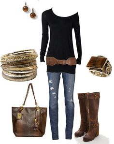 """""""Black & Brown w/ Gold Accents"""" by amyjoyful1 on Polyvore"""