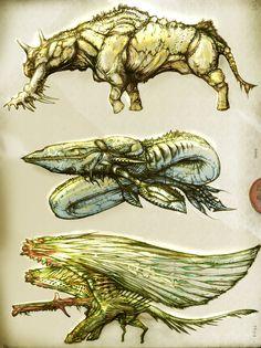 1033 1034 1035 Color by Rodrigo-Vega on DeviantArt Creature Concept Art, Creature Design, Alien Creatures, Fantasy Creatures, Avatar World, Anime Monsters, Western World, Zoology, Art Reference