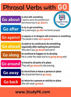 Phrasal Verbs with Go in English: About, After, Against, Ahead, Along, Away, Back, Around, On, definitions and example sentences Common Phrasal Verbs with 'Go' definitions and example sentences