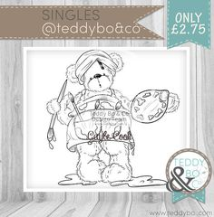 Teddy Bo_216 Bear DIGI STAMP Arty Bear