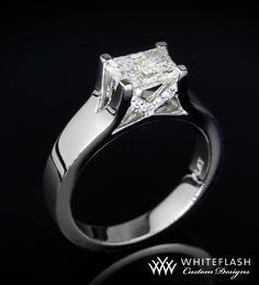 solitaire diamond engagement rings   Platinum engagement ring holds a beautiful 0.78 carat Radiant Diamond ...
