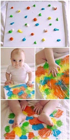 Baby sensory play for a 6 to 9 month old baby. Wrap cling wrap around a canvas a.- Baby sensory play for a 6 to 9 month old baby. Wrap cling wrap around a canvas a… Baby sensory play for a 6 to 9 month old baby. Kids Crafts, Toddler Crafts, Crafts For Babies, Infant Crafts, Summer Crafts, Infant Art Projects, Summer Fun, Baby Crafts To Make, Baby Sensory Play