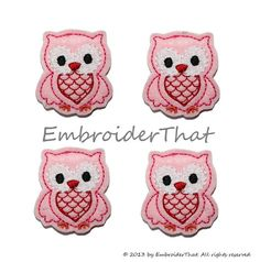 Valentine's Day felt Owl appliqué embellishment feltie hair bow center by EmbroiderThat, $3.95