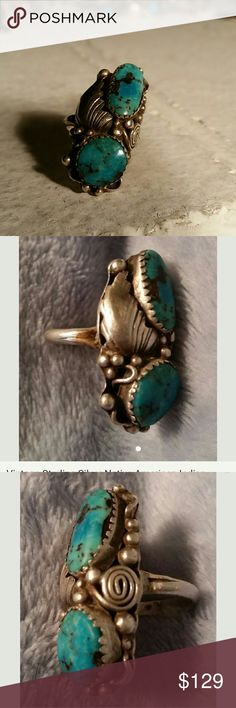 Native American Indian Sterling Turquoise Ring Another beautiful ring with two pieces of turquoise that remind me of the Mediterranean Sea. Such pretty shades of blue turquoise to green with the dark Matrix looking like Islands. The ring also has some beautiful detailing with more sterling silver than I've seen on others. Truly a great collection piece of wearable art Vintage  Jewelry Rings