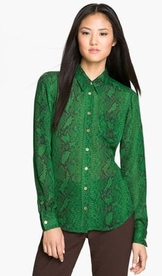 Classic Button-down Shirt in unusual color & pattern (emerald snakeskin!)   ....not so sure about the brown pants, though...