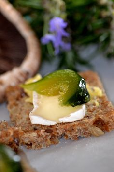 Camembert and fig on seed bread