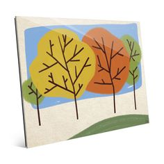 """Click Wall Art Autumn Trees Graphic Art on Plaque Size: 20"""" H x 24"""" W x 1"""" D"""