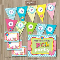 Instant Download Pool Party Birthday Invitation by AngelinaWorks