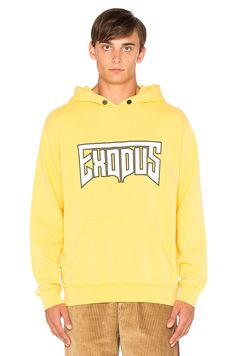 Palm Angels Exodus Hoodie in Yellow & White